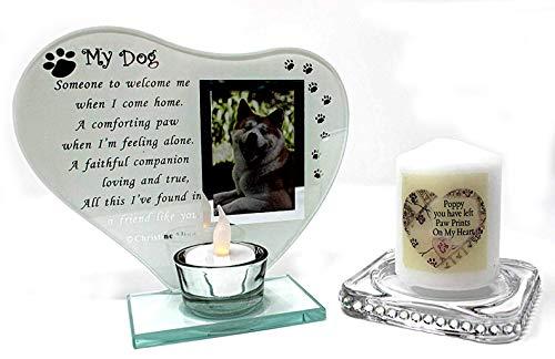 My Dog Glas Teelichthalter Foto Rahmen mit Gedicht kann personalisiert mit Namen der Hund + Gratis Memorial Kerze