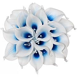 Fake Calla Lily Brautschmuck Hochzeit Party Decor Bouquet PU Real Touch Blumen Künstliche Blumen, Weiß/Blau, 20 Stück