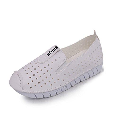 XY&GK Donna informale Lazy scarpe donna piatto traspirante Anti Slip maternità calzature Suole morbide scarpe basse Nero 40 36 white