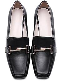 Beauqueen Mocasines Hebilla De Cinturón De Cuadrado-Toe Chunky Baja Tacón Mujeres Verano Zapatos Casuales