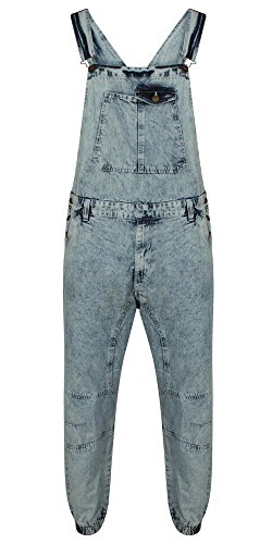New Mens Acid wash Blue Denim Designer Dungaree Dungarees Jeans Mid Bib Overalls (UK Size M)
