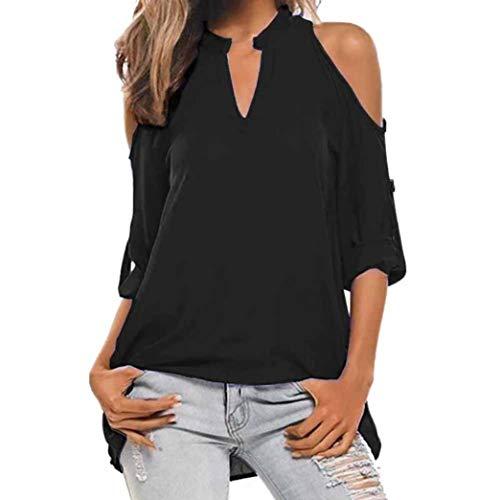 Honestyi Damen Langarmshirt Tops Elegant T-Shirt Sweatshirt Bluse Frauen Damen lässige langärmel strapazierfähige V-Neck Tops Bluse Pullover Shirt -