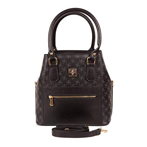 Henkeltasche Damen als modische Tote-Bag   Handtasche elegant als Schultertasche   Damen-Handtasche vegan mit viel Platz   Henkeltasche mit Schulterriemen von Gio&Mi (Schwarz)