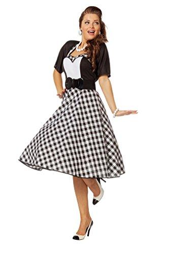 ock n Roll Kostüm Damen 50er Jahre Kostüm Damen Rock and Roll Kleid schwarz weiß Damen-Kostüm Größe 44 (Kinder 60er Jahre Kostüme)