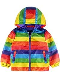 XXYsm Kinder Mantel Winter Jacke mit Kapuze Outwear Winterjacke Kapuzenmantel Herbst Baby Coat Mädchen Regenbogen Streifen