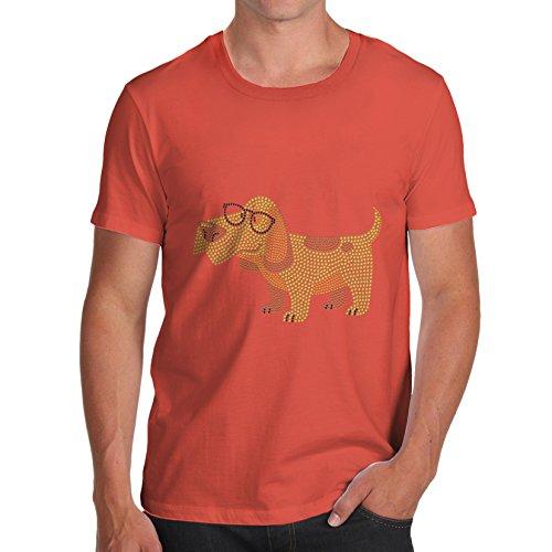 TWISTED ENVY Herren T-Shirt Hipster Beagle Dog Rhinestone Stass Orange