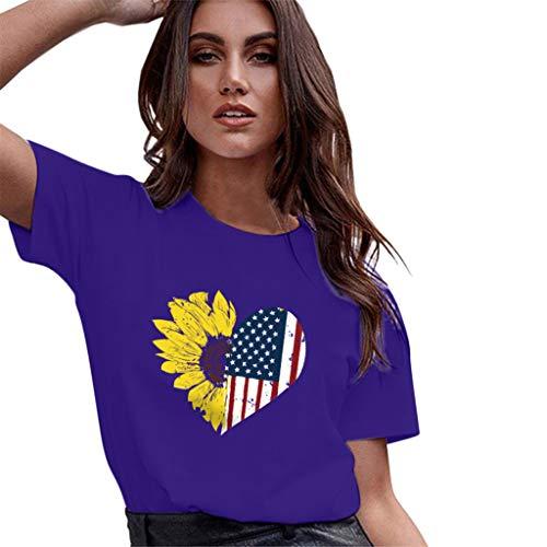 Andouy Damen USA Unabhängigkeitstag Sommer Mode Sonnenblume Flagge Drucken Tee Lose Lässig Kurzarm Patriotisch T-Shirt Tops(XL(42).Lila) -