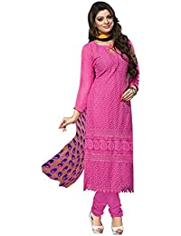 Gallery69 Women's Charming Pink Georgette Semi-Stitched Embroidered Straight Suit (GaRH-1010)