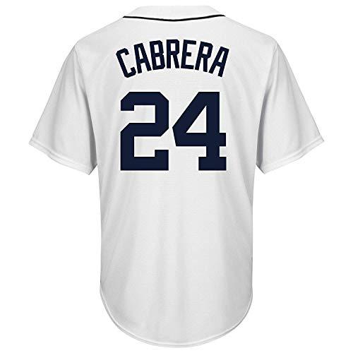 BEMWY Herren/Damen/Jugend_Miguel_Cabrera_#24_Weiß_Zuhause_Sportbekleidung_Ausbildung_Baseball_Jersey S-XXXL - Miguel Cabrera Jersey