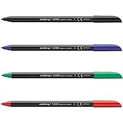 Rotuladores Edding 1200, Caja x 10 Surtida (5 Negro, 2 Azul, 2 Rojo, 1 Verde)
