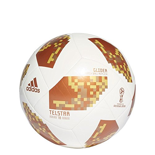 adidas World Cup Glider Trainingsball, White/Copper Gold met, 5