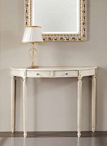 Consolle classica in legno gambe tornita bianco avorio noce da salotto (avorio)