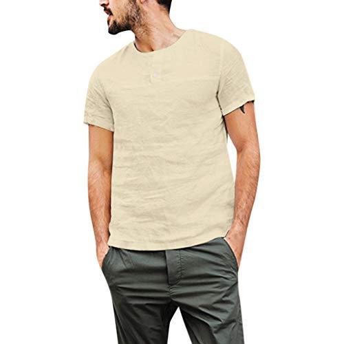 Junkie-fit-jeans (UINGKID Herren Sommer T-Shirt Slim-Fit Easy Business Kurzarm Unterhemd Mode Herren Button Casual Leinen und Baumwolle Kurzarm Top Bluse)
