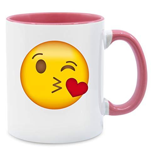 (Statement Tasse - Emoji Kuss-Mund - Unisize - Rosa - Q9061 - Kaffee-Tasse inkl. Geschenk-Verpackung)
