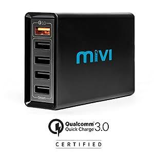 Mivi DC58QC3 8A Desktop USB Turbo Charger Hub - (Black)