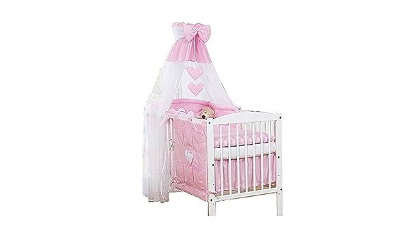 Himmel für babybett schleier mit band mit herzen rosa amazon