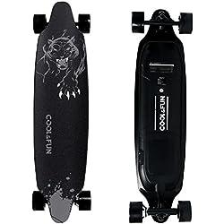 Cool&Fun Skateboard Eléctrico de Batería LG con Control Remoto, Patinete Motorizada Eléctrica 800W, 4 Ruedas, Diseño de Pantera Negra