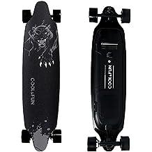 Cool & Fun Skateboard Eléctrico de Batería LG con Control Remoto, Patinete Motorizada Eléctrica 800W, 4 Ruedas, Diseño de Pantera Negra