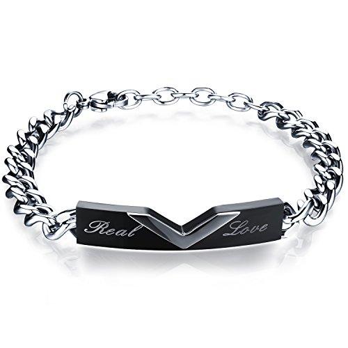 JewelryWe Bracelet Homme Gravé \u201cReal love\u201d Romantique Classique Amour  d\u0027Amitié Amoureux Couple