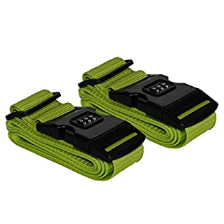 2 Stück Kofferband Koffergurt Kofferschloss Gepäck Schloss Zahlenschloss (grün),all-around24®