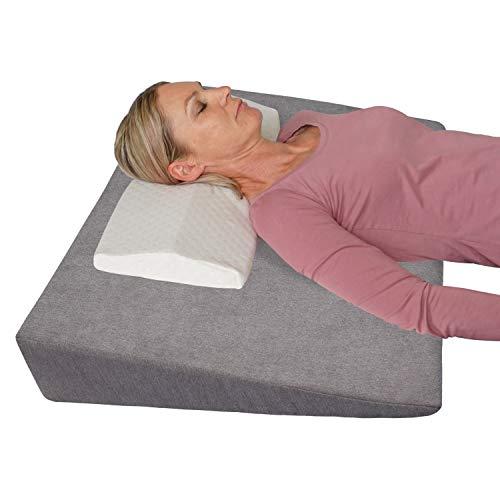Orthopädischer Bettkeil + Anti-Stress-Kissen!  Rückenkissen für Bett / Bucco / Sofa - Hebekissen 90 x 60 cm;  Höhe 12 cm (grau)