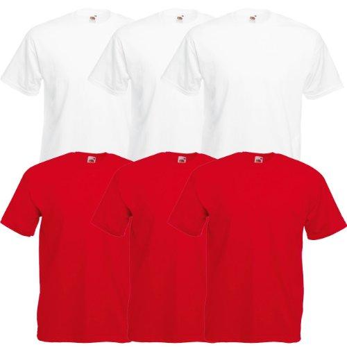 Fruit of the Loom Original Valueweight T Rundhals T-Shirt F140 3er 6er 9er 12er Pack 3x white 3x red