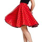 Kostümplanet® Rock-n Roll Rock Kostüm rot schwarz gepunkteter Rock knielang mit passendem Schal Halstuch Tellerrock 50er Jahre Stil Mode Kostüm Rockabilly Damen Outfit Polka Dots -