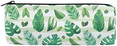 Tropical Motif feuilles Trousse Sac pochette pour enfants garçons filles adultes d'école avec fermeture à glissière ronde, Vert B07GXMMB3N   La Qualité