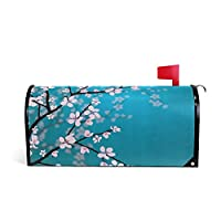 ALARGE Magnetic Mailbox Cover, Japanese Cherry Blossom Mailbox Wrap Home Decor Art Post Letter Box Cover