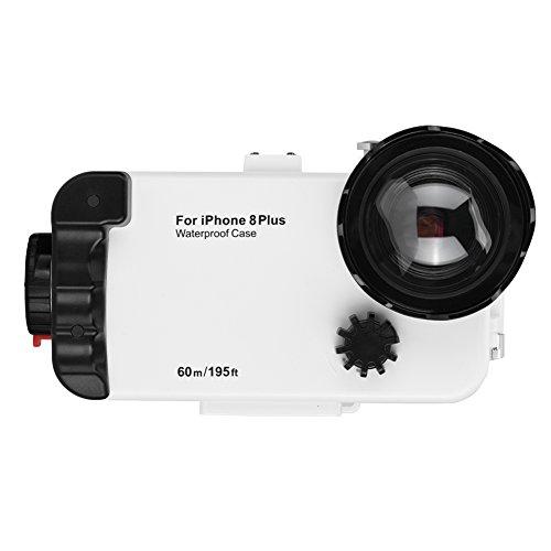 Fosa 195ft Unterwasser 60meter Tauchen Fall 360 ° Schutz Fotos Tauchen Fall Schutzhülle für iPhone 8/8P(Weiß 8P)