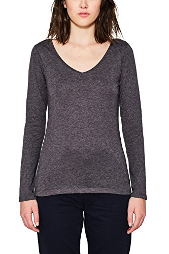 edc by ESPRIT Damen Langarmshirt 087CC1K060, Grau (Dark Grey 5 024), Medium