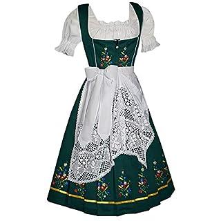 Dirndl Trachten Haus Women's 3-Piece Long German Dress 42 Green