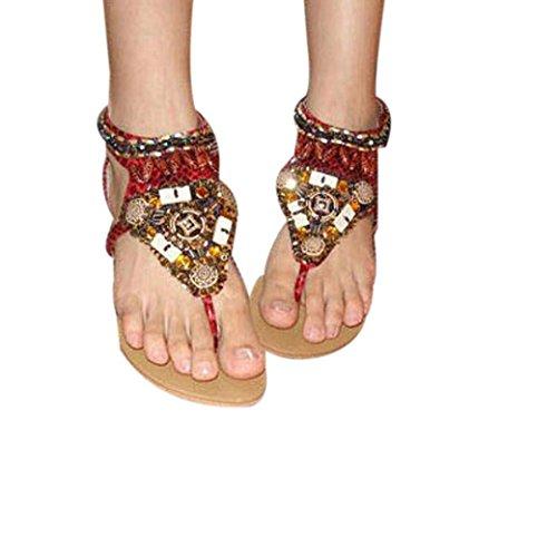 Fulltime® Femmes Fashion Style ethnique Bohemian perlé Thong à Rome avec Sandals Beach Rouge