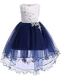 0081469491d0 Vestito Lungo Elegante Ragazze Fiore Principessa Moda Maglia Stampata  Floreale Pizzo Vestiti per Compleanno Festa Damigella