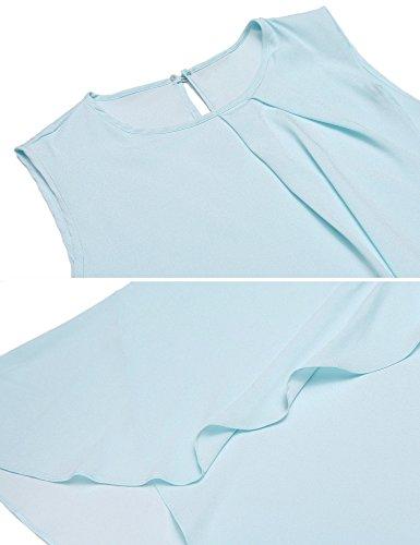 Meaneor Tops Damen Tank Armlos Shirt Rundhals Bluse Tunika sexy Oberteil in 3 Frabe Blau