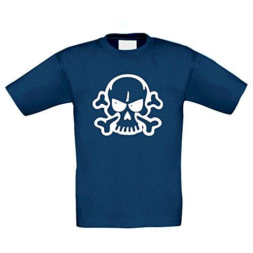 T-Shirt Kinder Halloween -- Böse Totenkopf mit Knochen, dunkelblau-glow, (Kostüme Niedliche Halloween Kids Für Ideen)