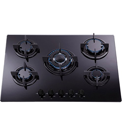 SIA 70cm Black Cooker Hood, 5 Burner Black Gas Hob & Electric Single Fan Oven