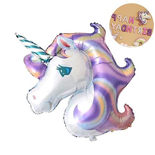 Beito - Globo de aluminio para niños, diseño de unicornio, color morado