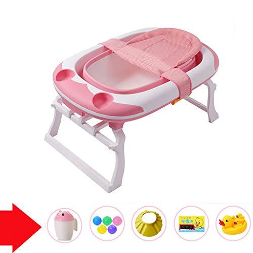 XUEPING Babybadewanne, Plastikbadewannen Der Kinder Groß Mit Spielzeug Badnetz Badhocker Trapezförmiger Bügel Baby Tragbarer Pool L91 * K60 * H44 2 Farben (Farbe : Pink)