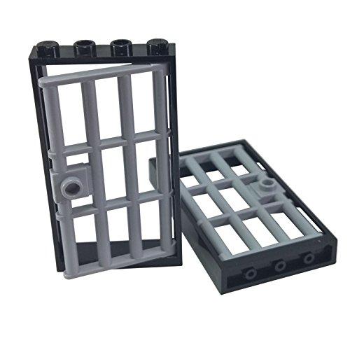 2 LEGO Gefängnis Türen schwarz
