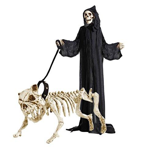 Hundeskelett mit Leine Skelett Deko Hund 45 cm Knochen Dekofigur Halloween Pitbull Raumdekoration Bulldogge Partydeko Horror Halloweendekoration Karneval Kostüm (Spiel Des Hund Kostüm Knochen)