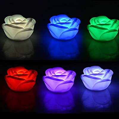 Youpin 2pcs 7 Color Changing Rose Flower Night Light,Rose Shape Candle LED Mostone Night Lamp Colorama Light Novelty Romantic Plastic Cute Lamp For Room Christmas Party Decor Decoration by Xinggambol