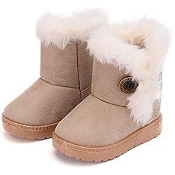 Amitafo Botas de Nieve para Niños Invierno Felpa Botines Calentar Botas de Nieve Bebés Antideslizantes Zapatos Botas Beige-1 23 EU = Etiqueta 24