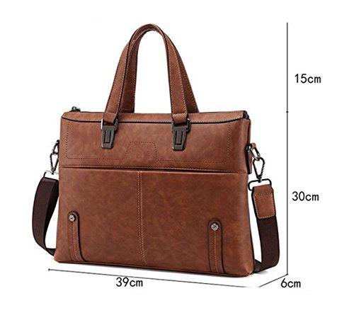 Männer PU Handtasche Business Aktenkoffer Umhängetasche Horizontale 14-Zoll-Computer Tasche Yellow