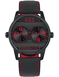 Serge referencia SB1130/40 - Reloj para hombre, color blanco, colección Rugby dual, correa de cuero, fondo negro
