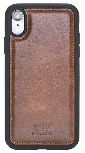 Solo Pelle iPhone Lederhülle Stanford kompatibel mit dem iPhone XR Case Leder Hülle Ledertasche Backcover aus echtem Leder (Cognac Braun Burned)