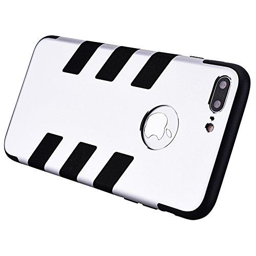 iPhone 7 Hülle, Yokata Luxury Metall Streifen Weich Silikon Case Überzug Schutz Anti-stoß Schutzhülle + 1 x Kapazitive Feder Silber