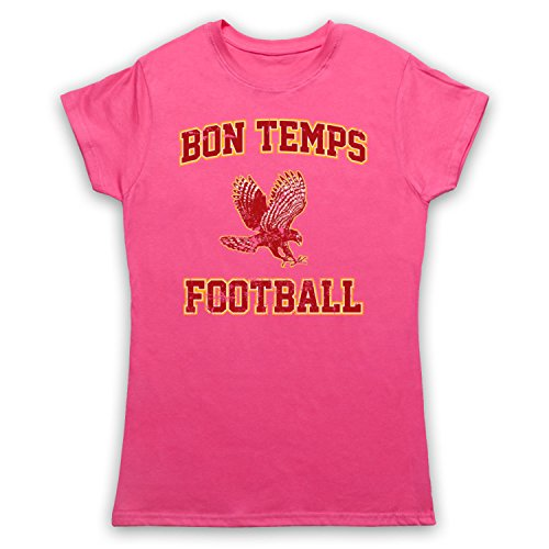 Inspired Apparel Inspiriert durch True Blood Bon Temps Football Inoffiziell Damen T-Shirt, Rosa, 2XL -