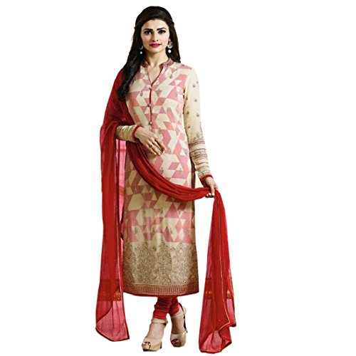 Q&Q Multi Color Georgette Fabric Embroidery & Stone Work Semi Stitched Straight...