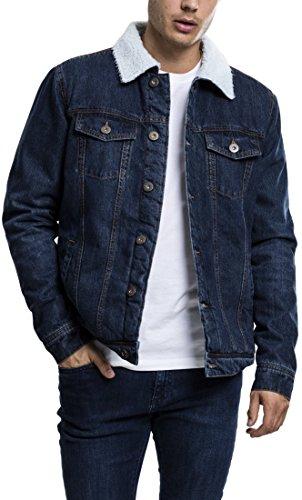 Urban Classics TB1796 Herren und Jungen Sherpa Denim Jacket, klassische Trucker-Jeansjacke mit Fell für Herbst und Winter, warm gefüttert - darkblue, Größe L